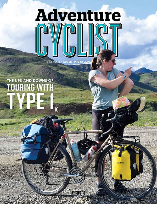 Annalisa on the cover of Adventure Cyclist Magazine,  spreading awareness about type 1 diabetes .