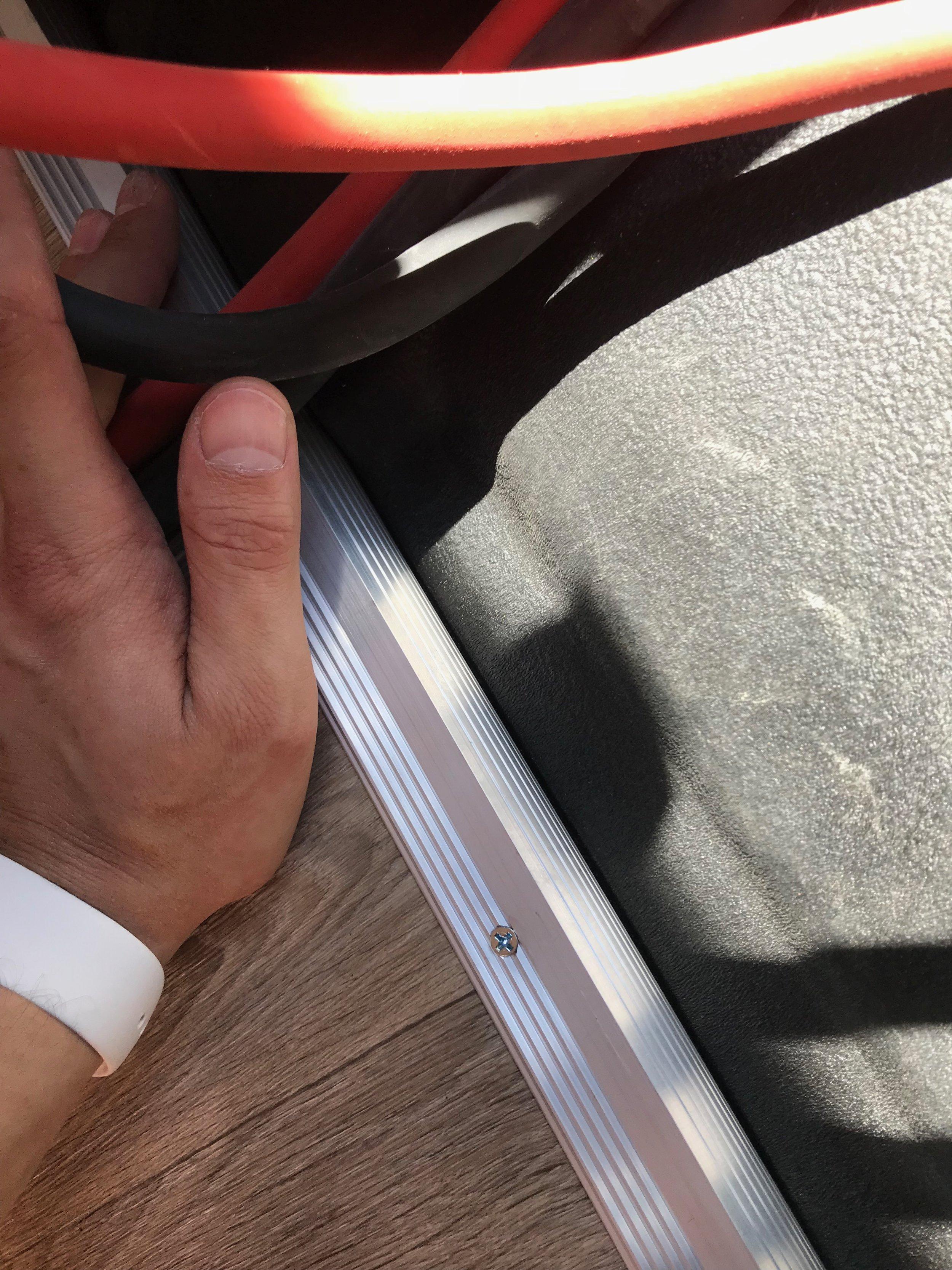 Cab stair trim close up