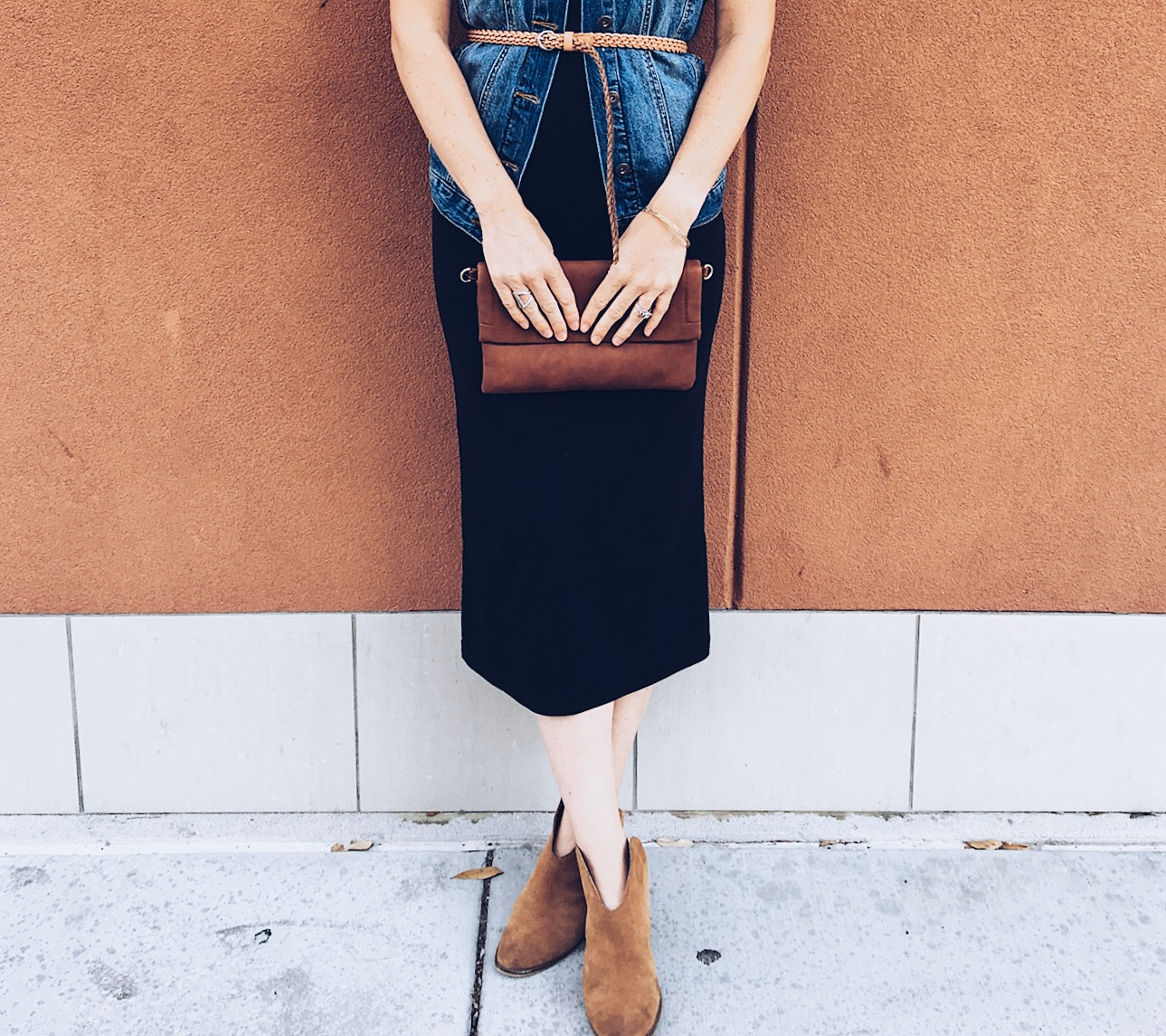 basic style, black midi dress, denim vest. layering