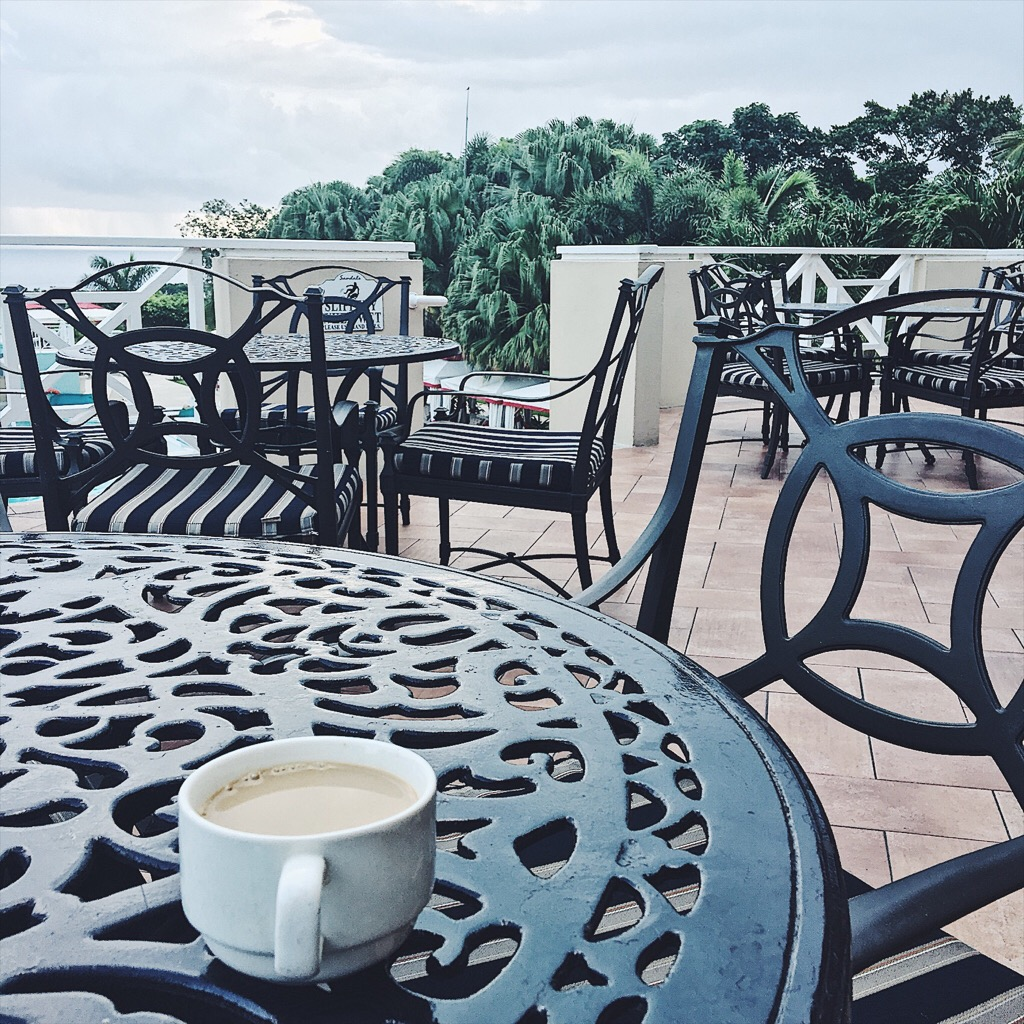 Morning coffee with a view. This was after my workout in the early morning, and nobody was around but me! So peaceful.
