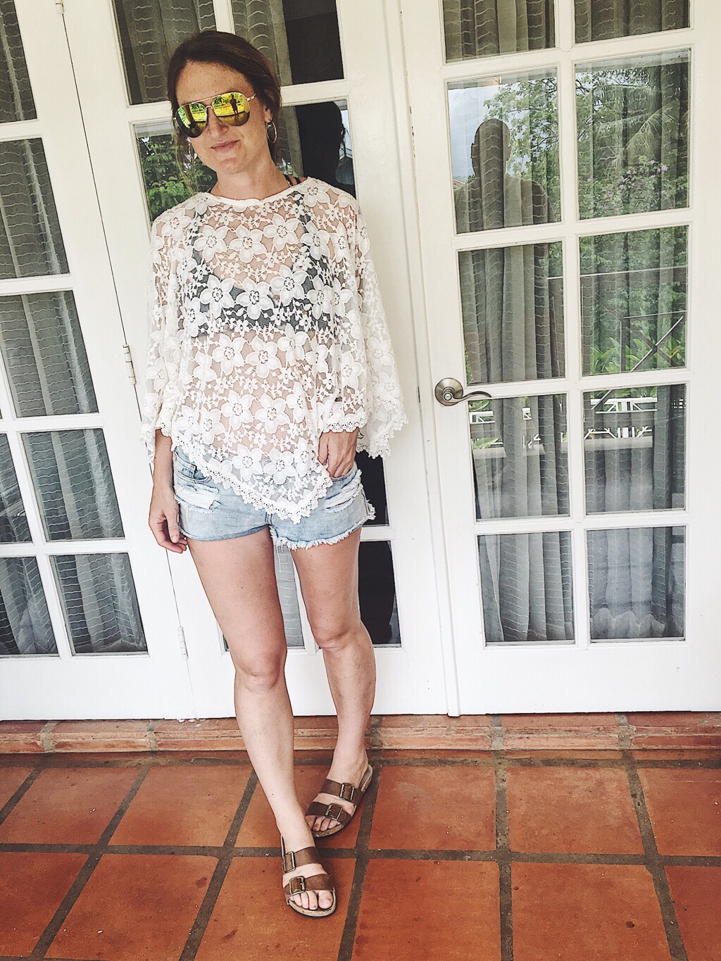 Lace top with denim cutoffs make for a perfect swimsuit cover-up!