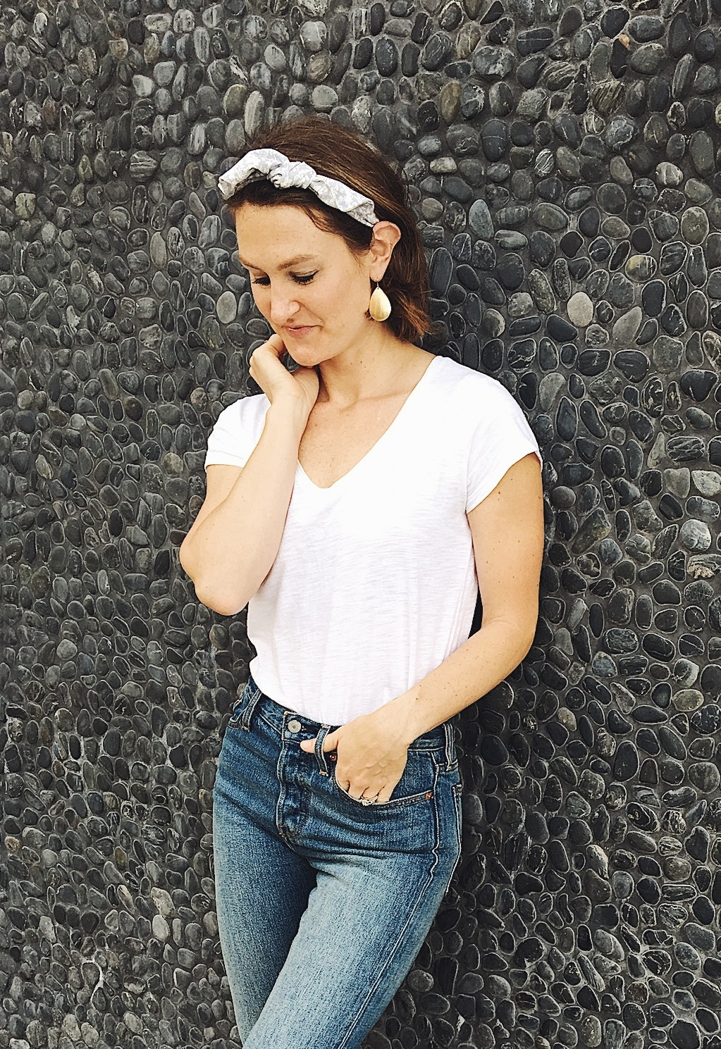 style jeans and a white tee