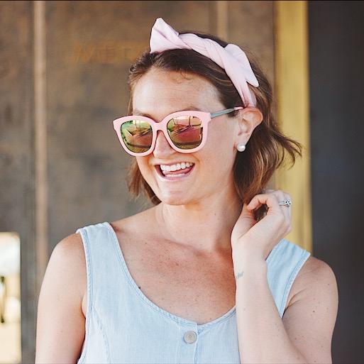 denim dress, pink sunglasses, pink hair wrap