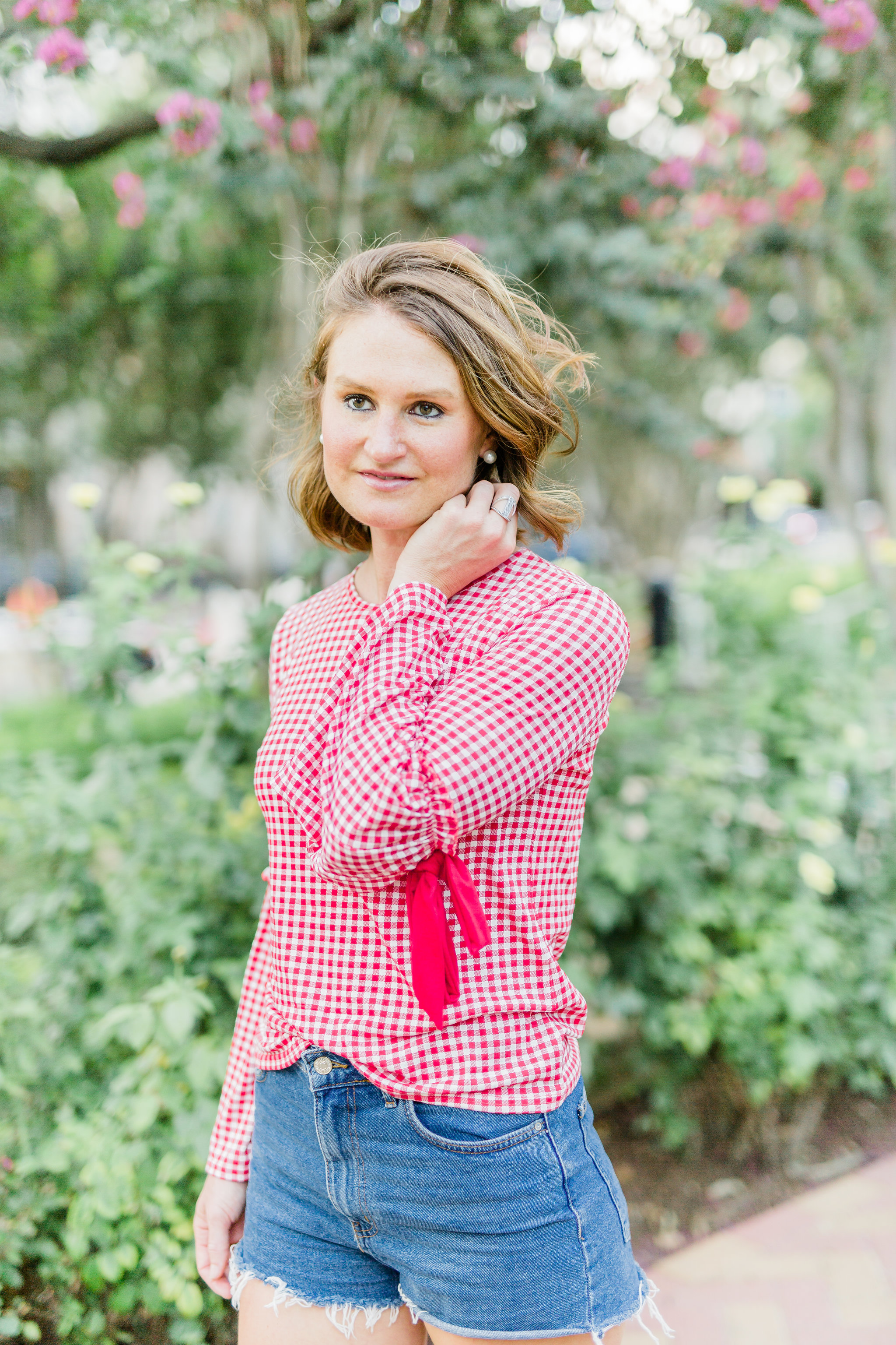 red and white gingham top