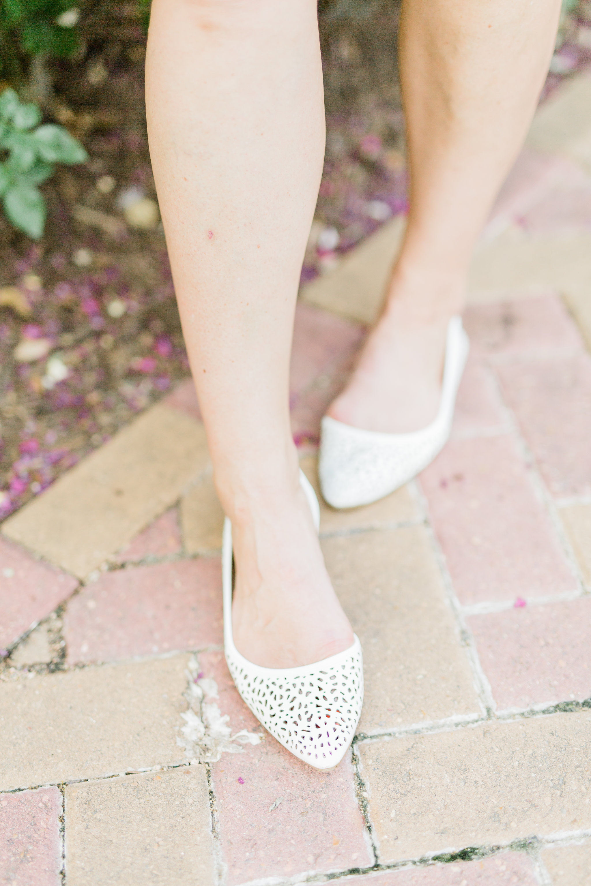 white cut out perforated flats, style