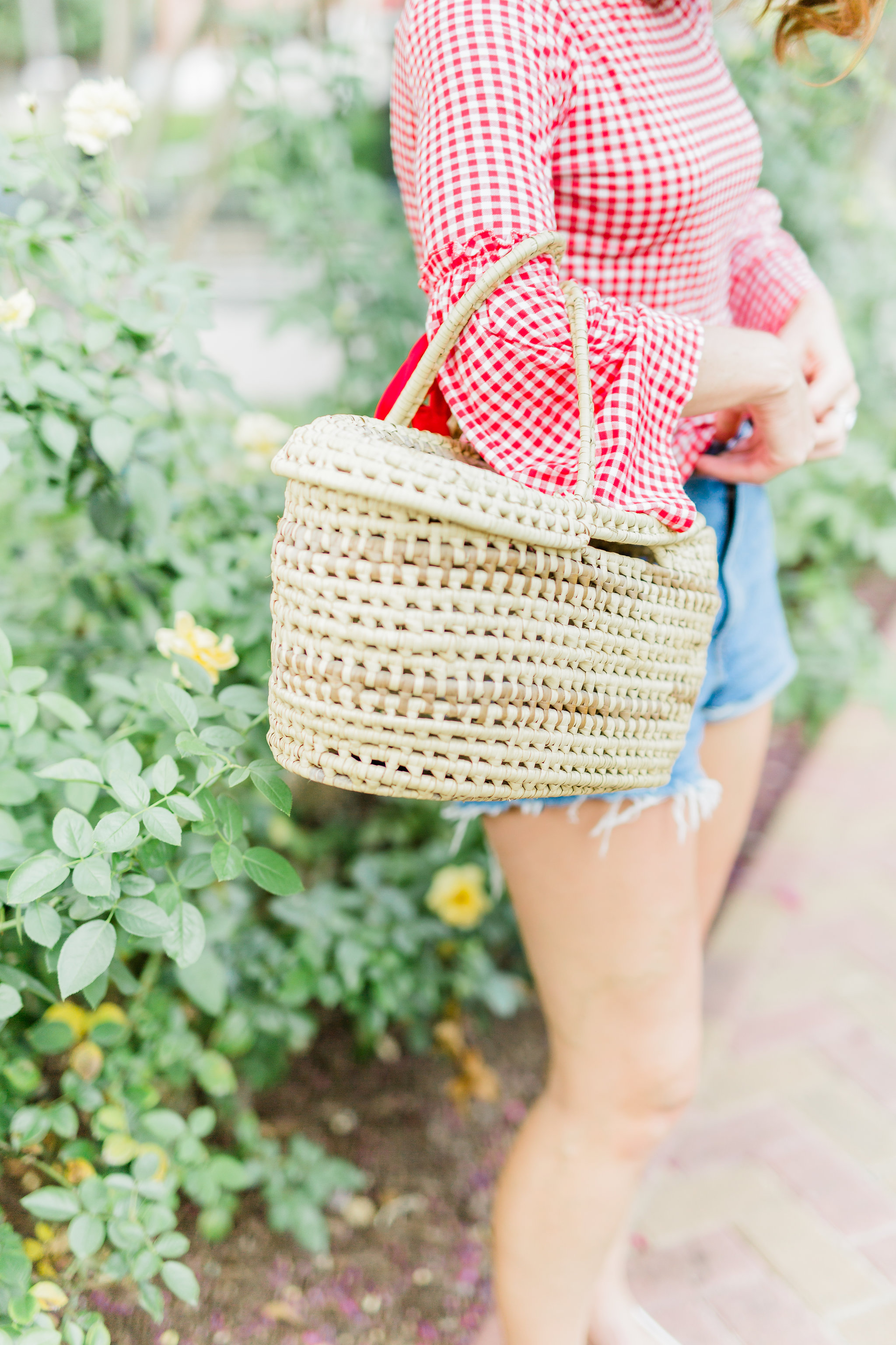 red and white gingham top, style