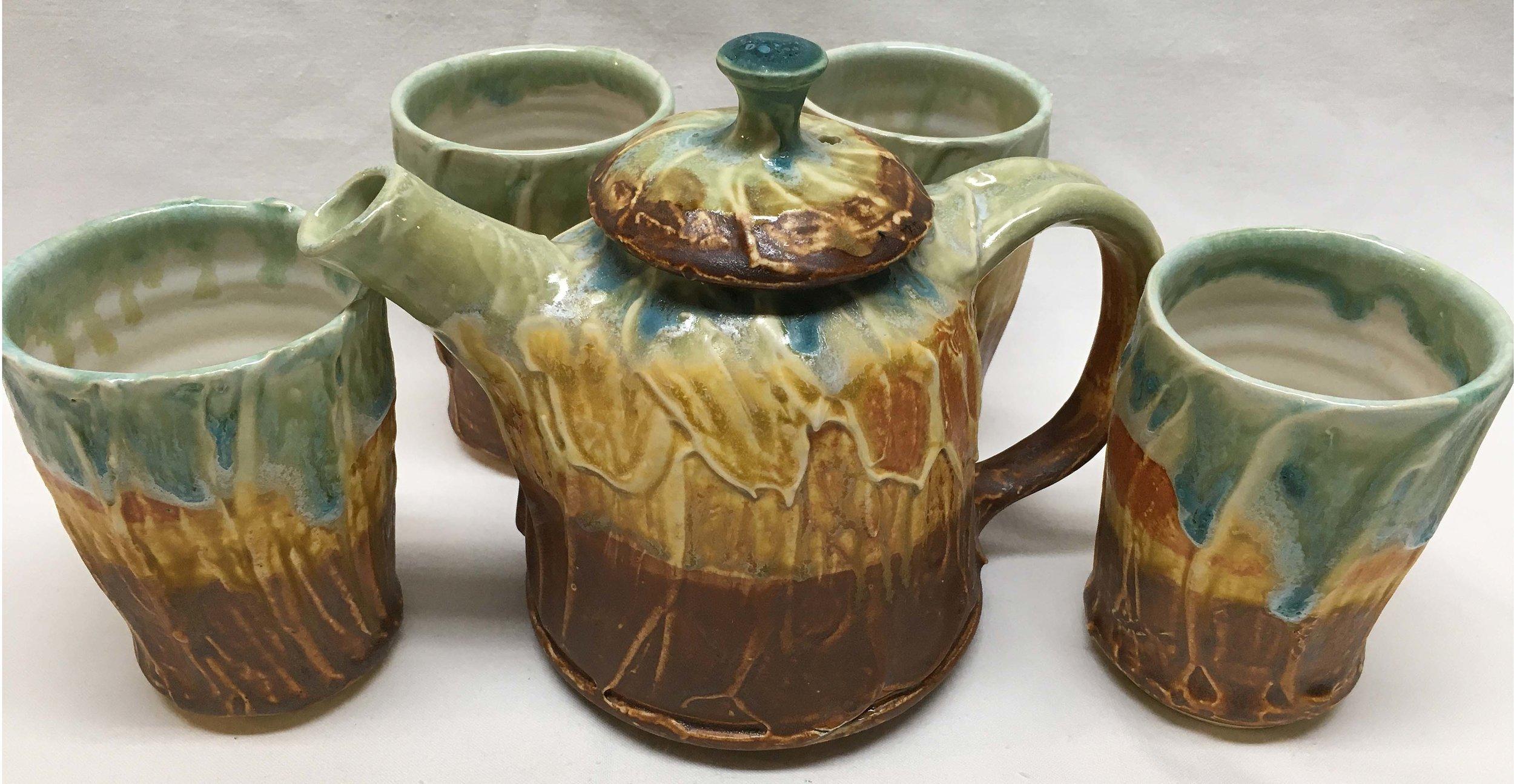 Textured Teapot & 4 Cups - Deborah Wheeler