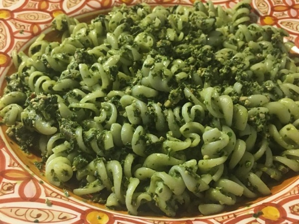 delicious dandelion pasta - Dig in and enjoy.