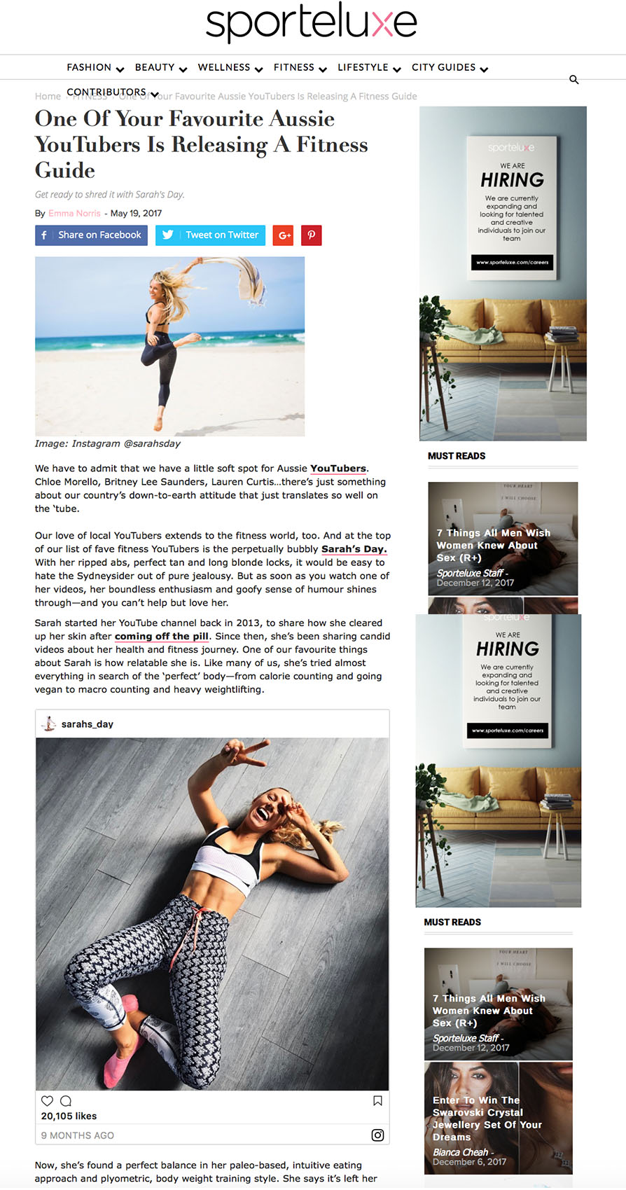 Sportluxe - Sarah's Day Fitness Guide