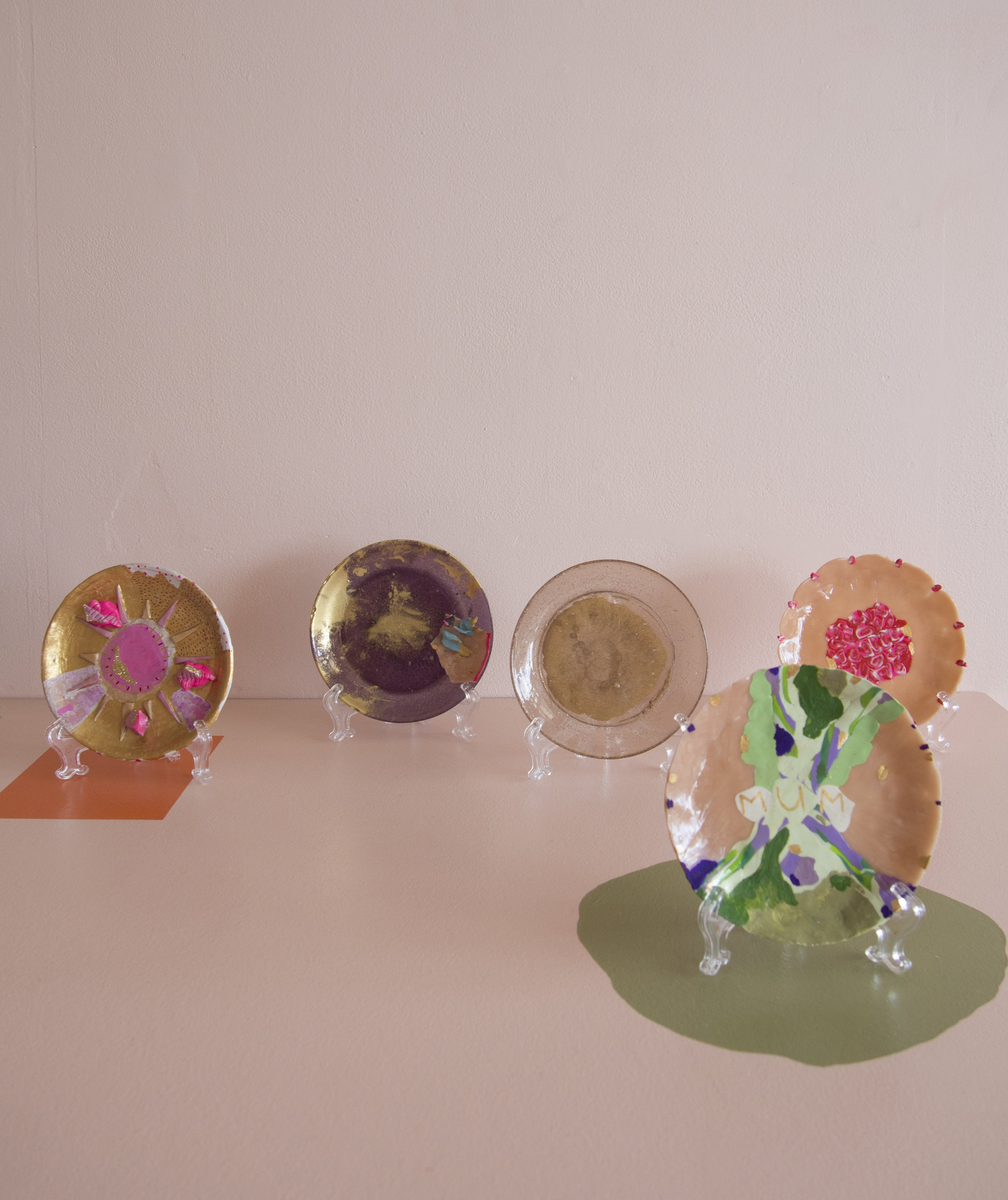 Plate 1; Plate 2, Plate 3, Plate 4, Mum    Molly Cook   resin, fimo, gold resin powder, acrylic paint