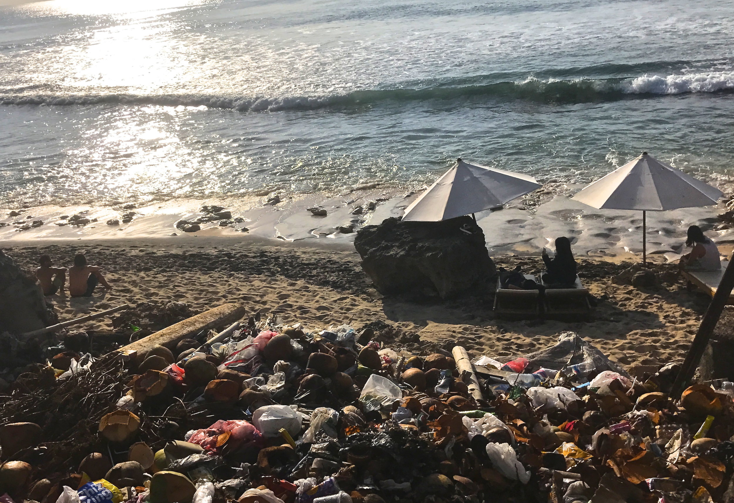 A trash pile on the shore of Balangan Beach in Bali, Indonesia. Heaps like this are burned routinely as one of the most common forms of waste management on the island.