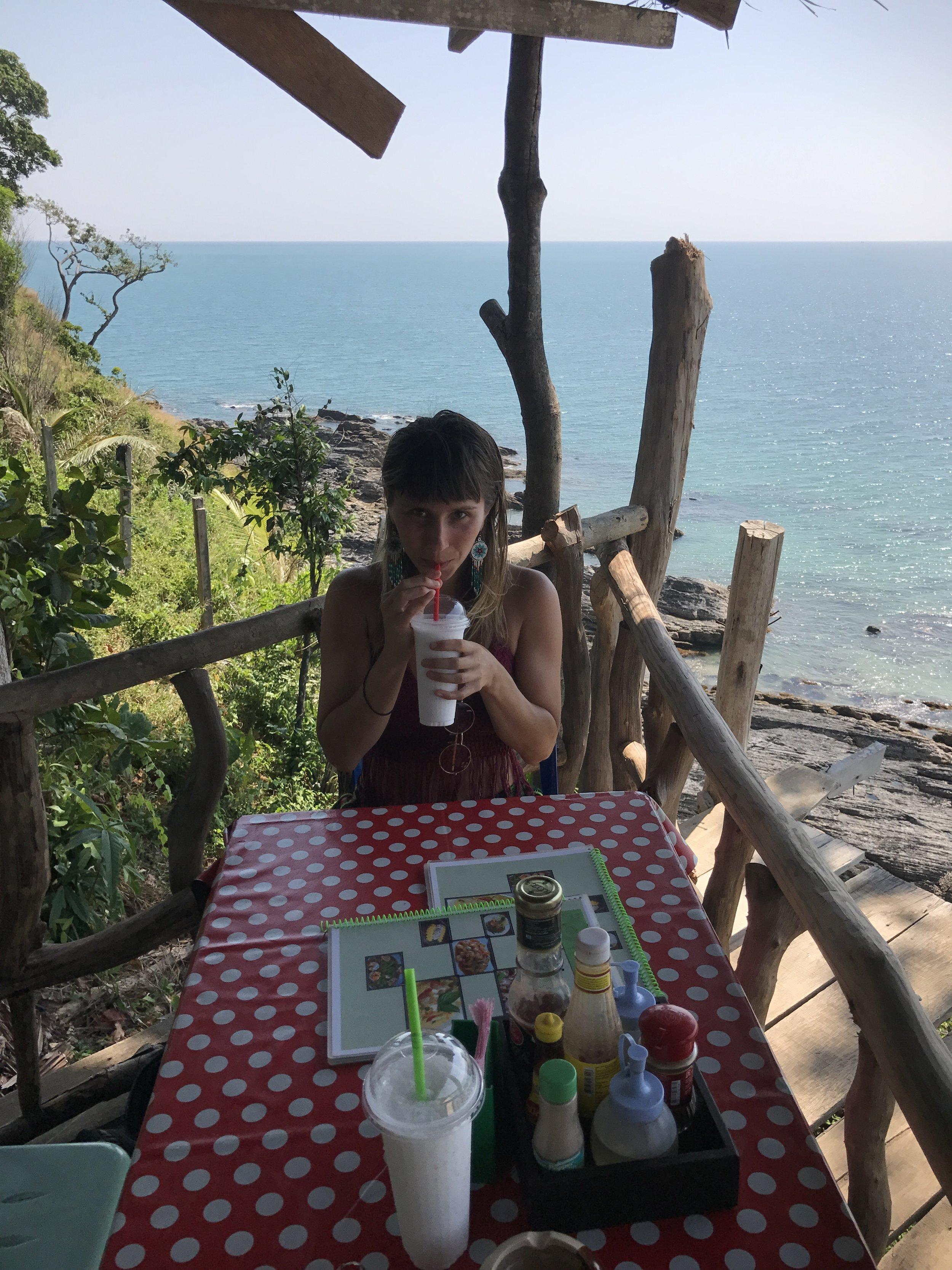 Lunch on the cliffs Ko Lanta.JPG