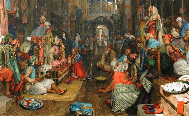The Bezestein Bazaar, El Khan Khalil, Cairo, 1872, by John Frederick Lewis. Watercolour. The Higgins Art Gallery & Museum, Bedford