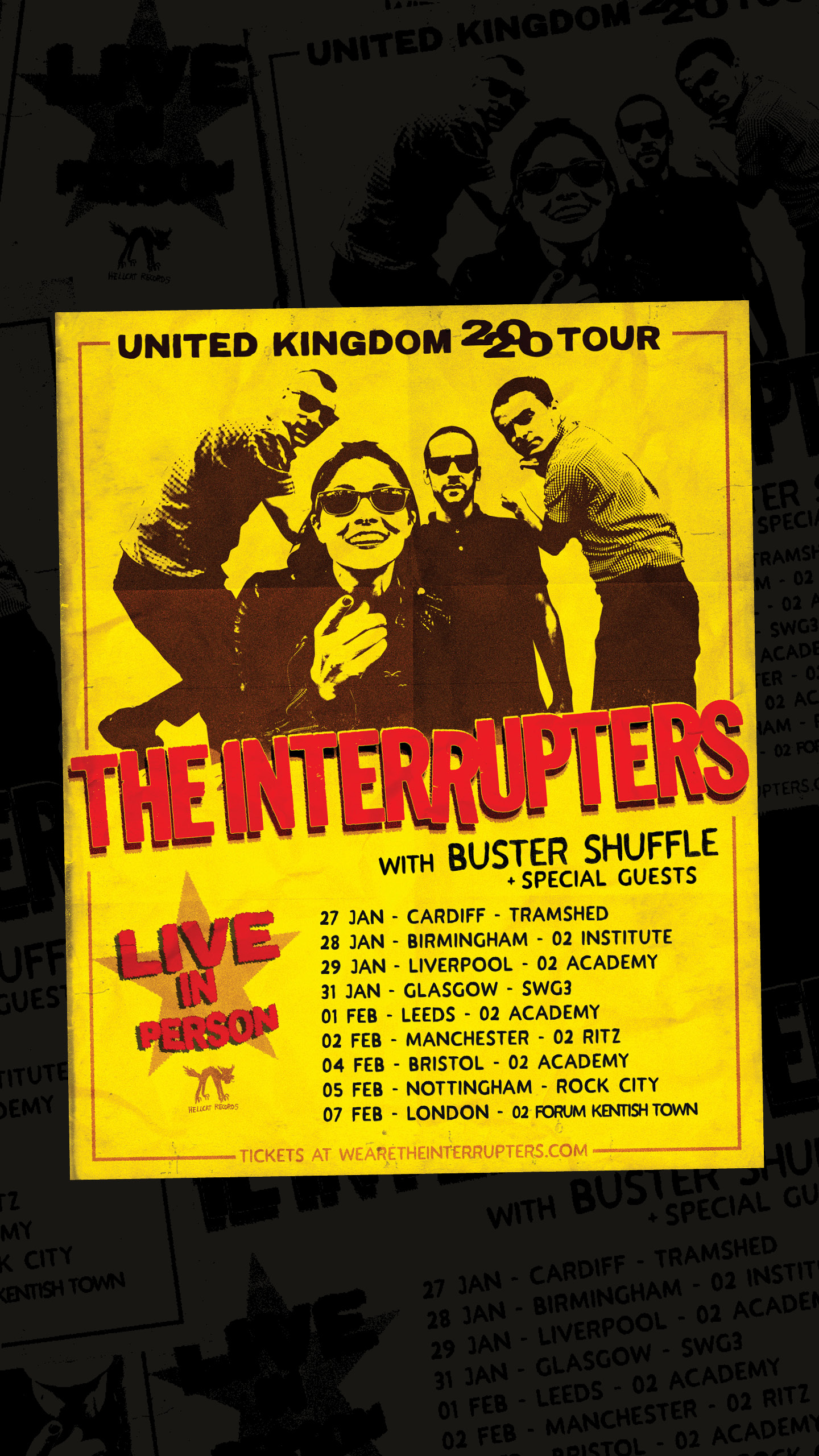 Oi Monday! We've got amazing news!  We'll be hitting the road in Jan-Feb 2020 supporting the hottest band in town right now, our pals    @interrupstagram    for a mega UK tour ♥️ 🇬🇧 🤘🏻 Shows will sell out super fast so you know what to do 🤟👍✊✌🏼 Tickets on sale this Friday @ wearetheinterrupters.com 27.01. Cardiff Tramshed 28.01. Birmingham O2 Institute 29.01. Liverpool O2 Academy 31.01. Glasgow SWG3 01.02. Leeds O2 Academy 02.02. Manchester O2 Ritz  04.02. Bristol O2 Academy 05.02. Nottingham Rock City 07.02. London. O2 Forum Kentish Town