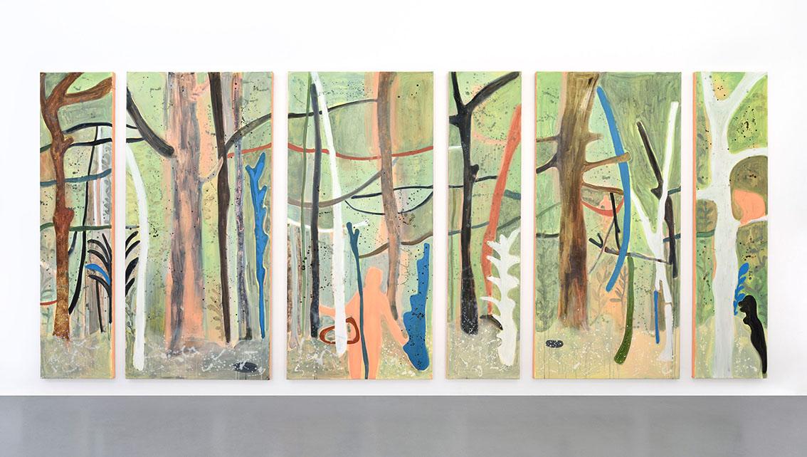 Eclats sauvages , polyptyque sur toile, 210 x 450 cm, 2019