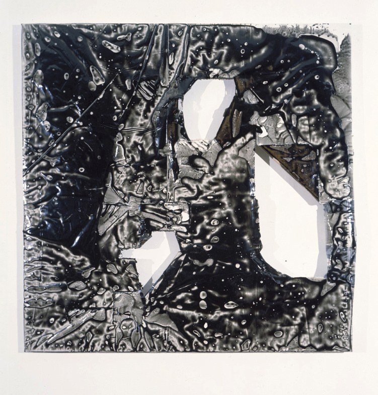 Black painting with 3 holes and duct tape, 1995, epoxy resin on canvas/résine epoxy sur toile, 127x128cm