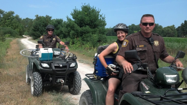 VBC Reserves on Kal-Haven ATV patrol assist with emergency transport of injured cyclist