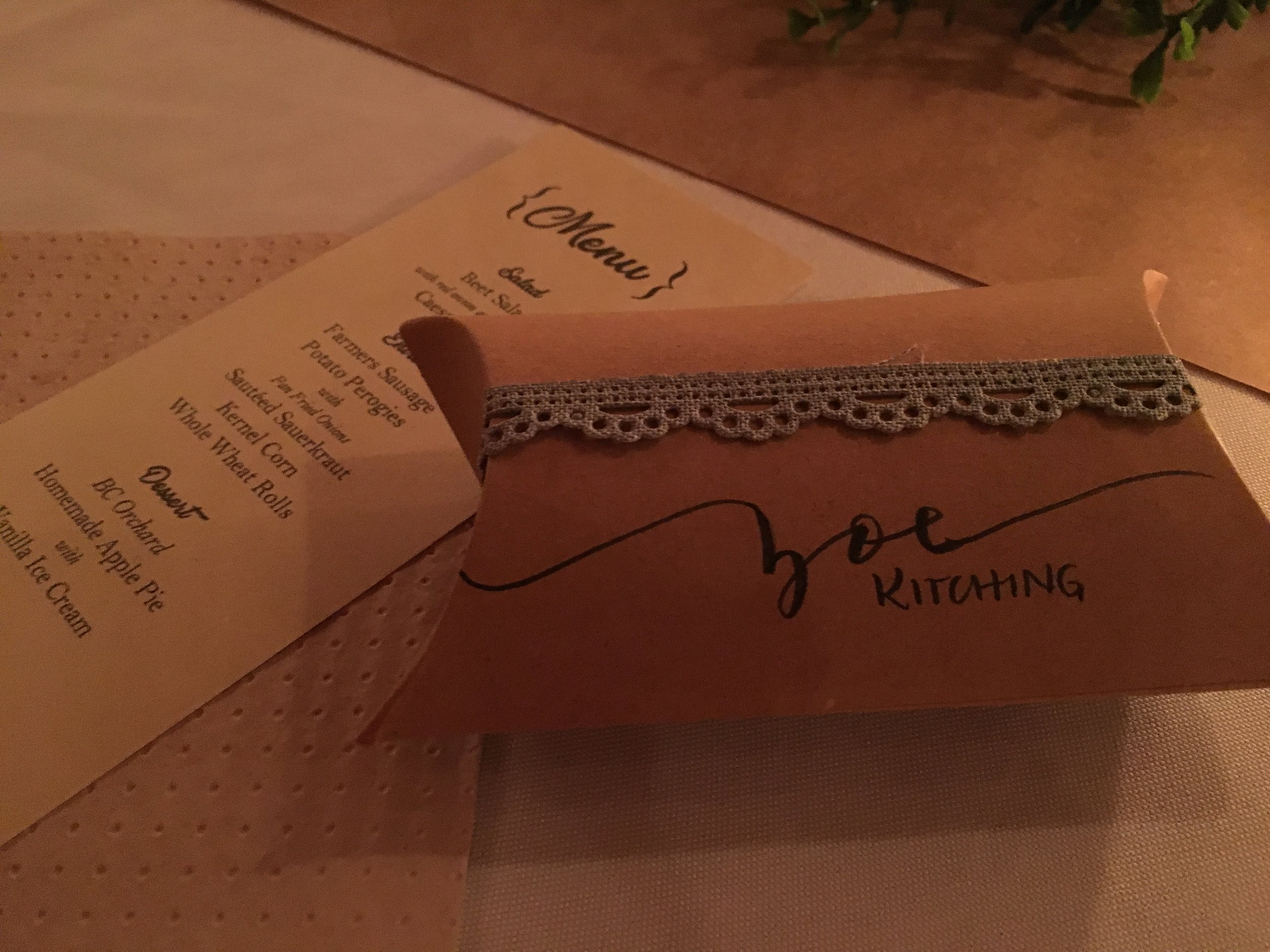The menu helped us get excited for the food to come ;) and the writing on the favours was (hashtag) goals!