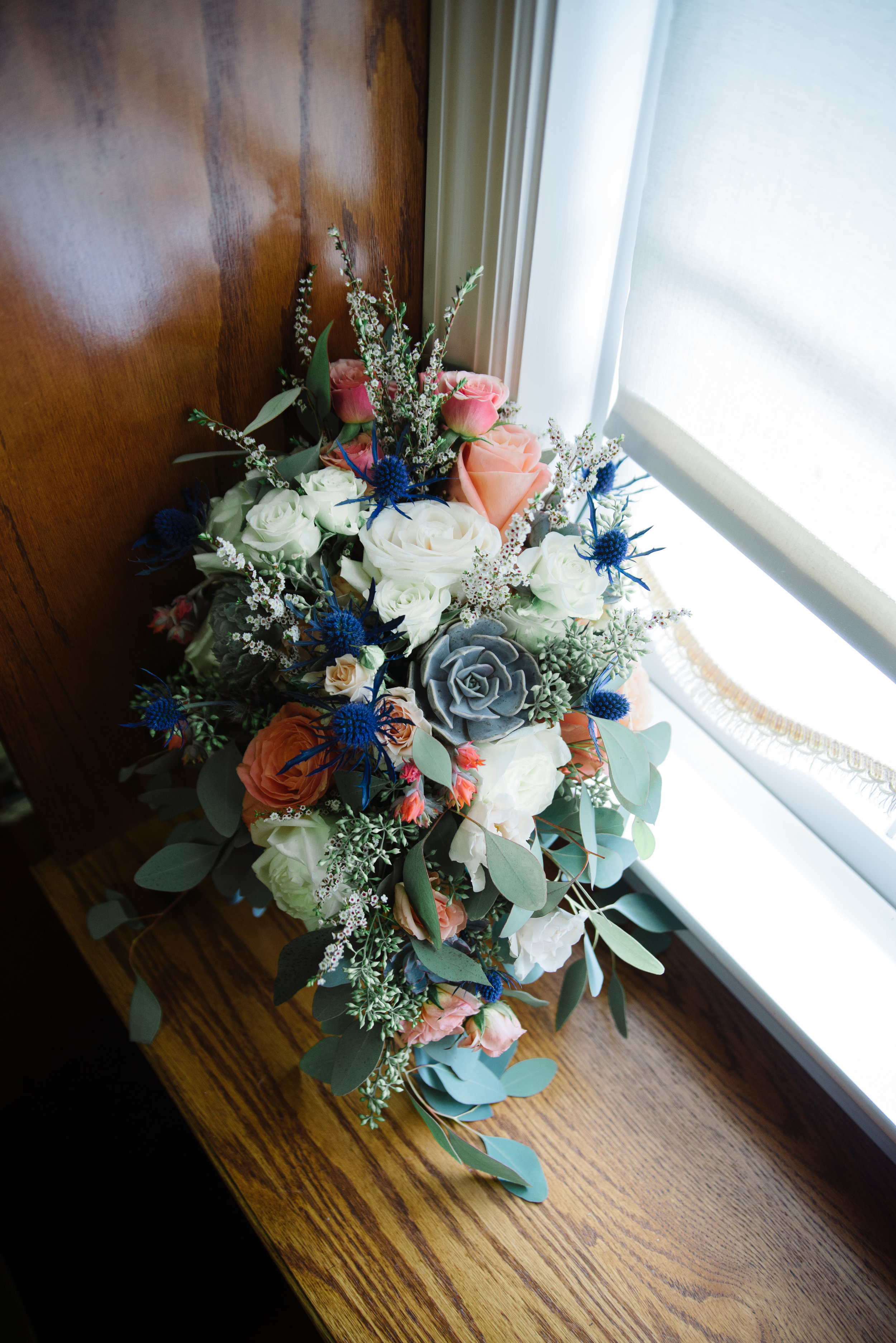 My Bouquet ^ (I love the combination of blue thistles, eucalyptus and succulents!)