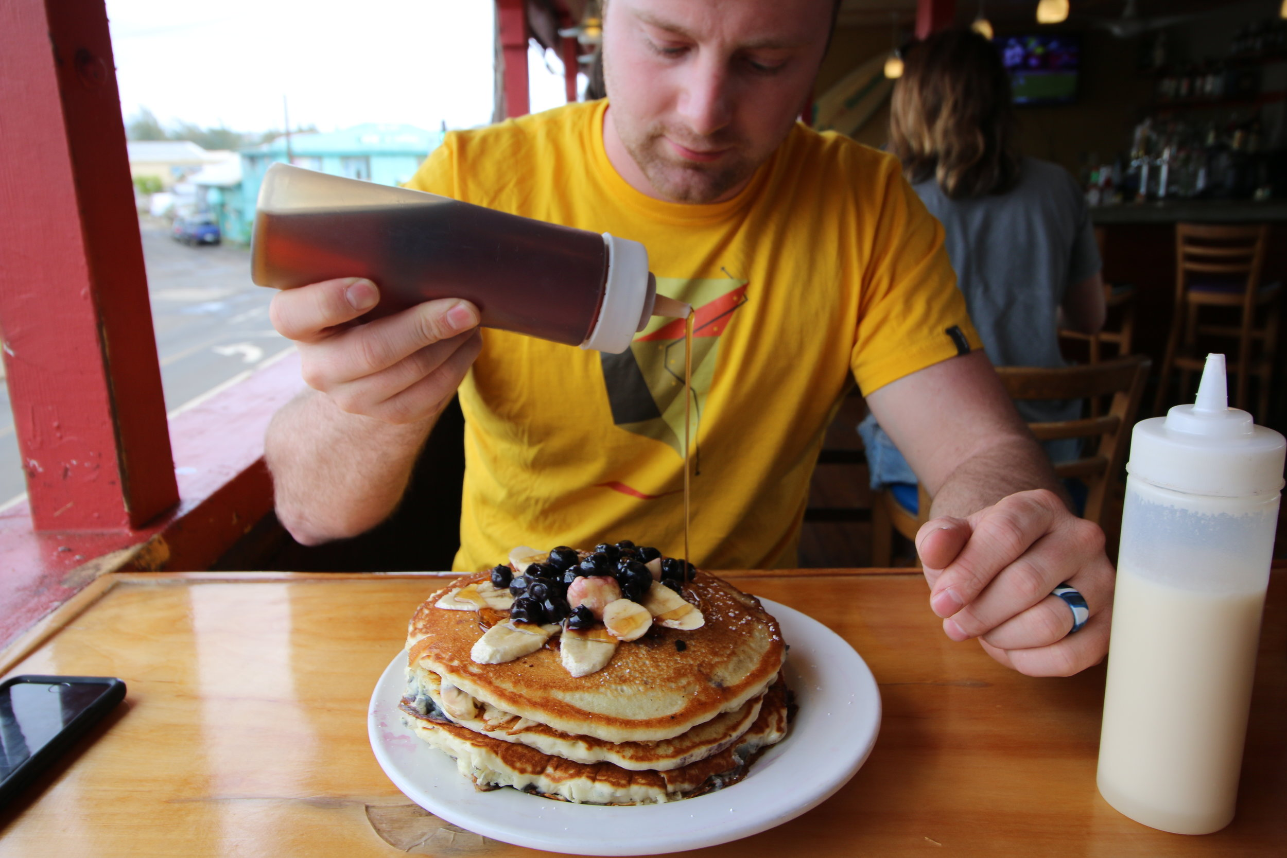 """Say """"yes"""" to coconut and maple covered blueberry and banana pancakes"""