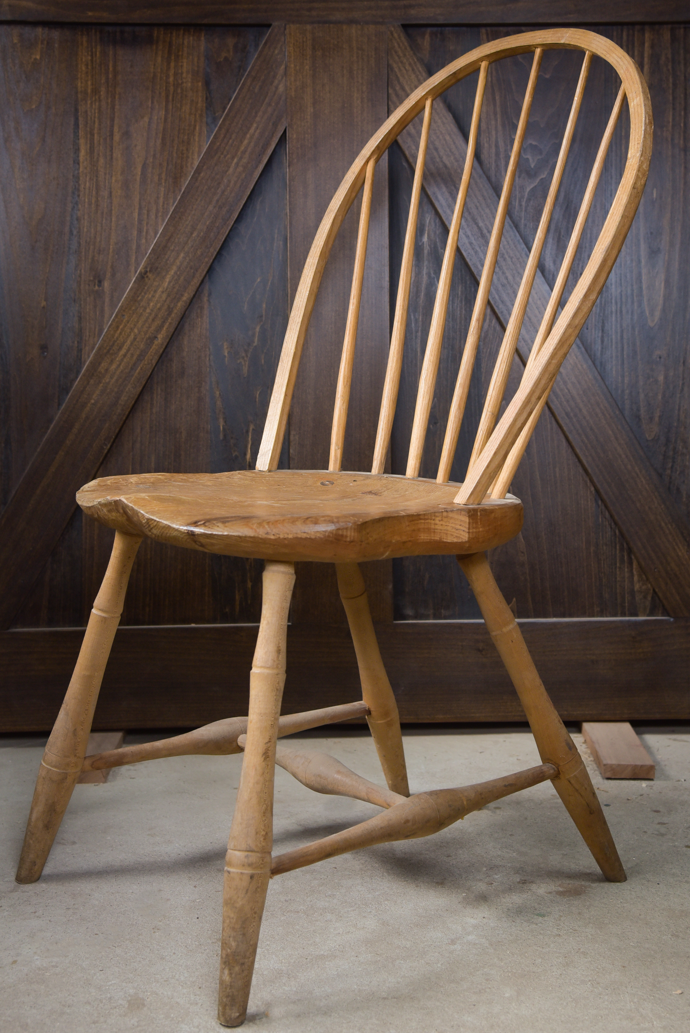 An unfinished student-made Windsor chair.