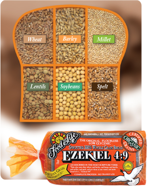 Ezekiel Bread , purchase at a Whole Foods or an organic market near you.