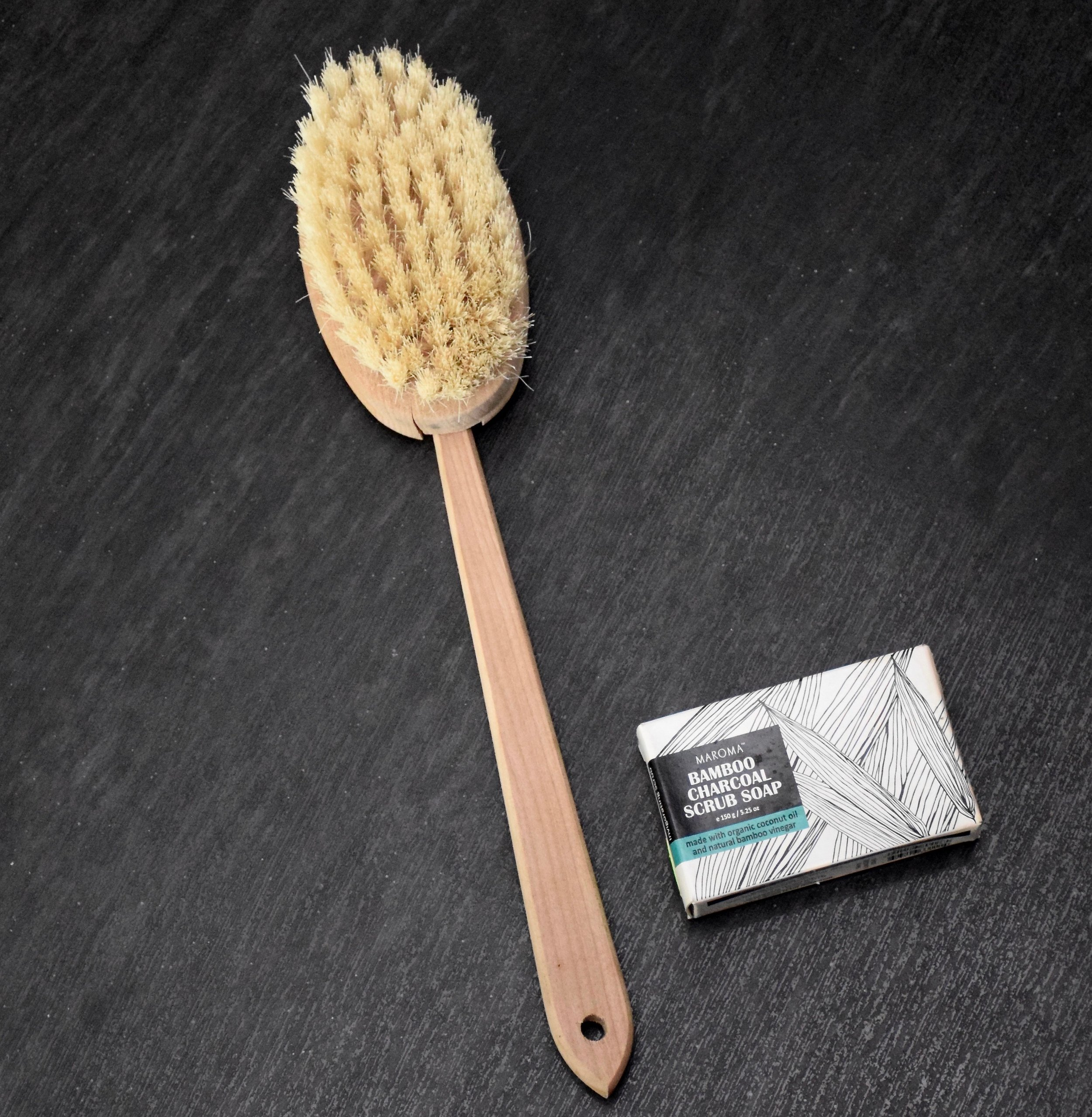 Body Brush for Dry Skin Brushing with Natural Boar Bristles , $16.97
