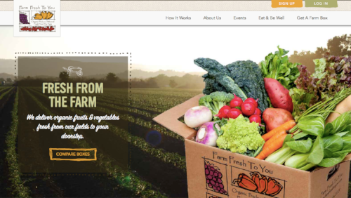 The homepage at Farm Fresh to You.
