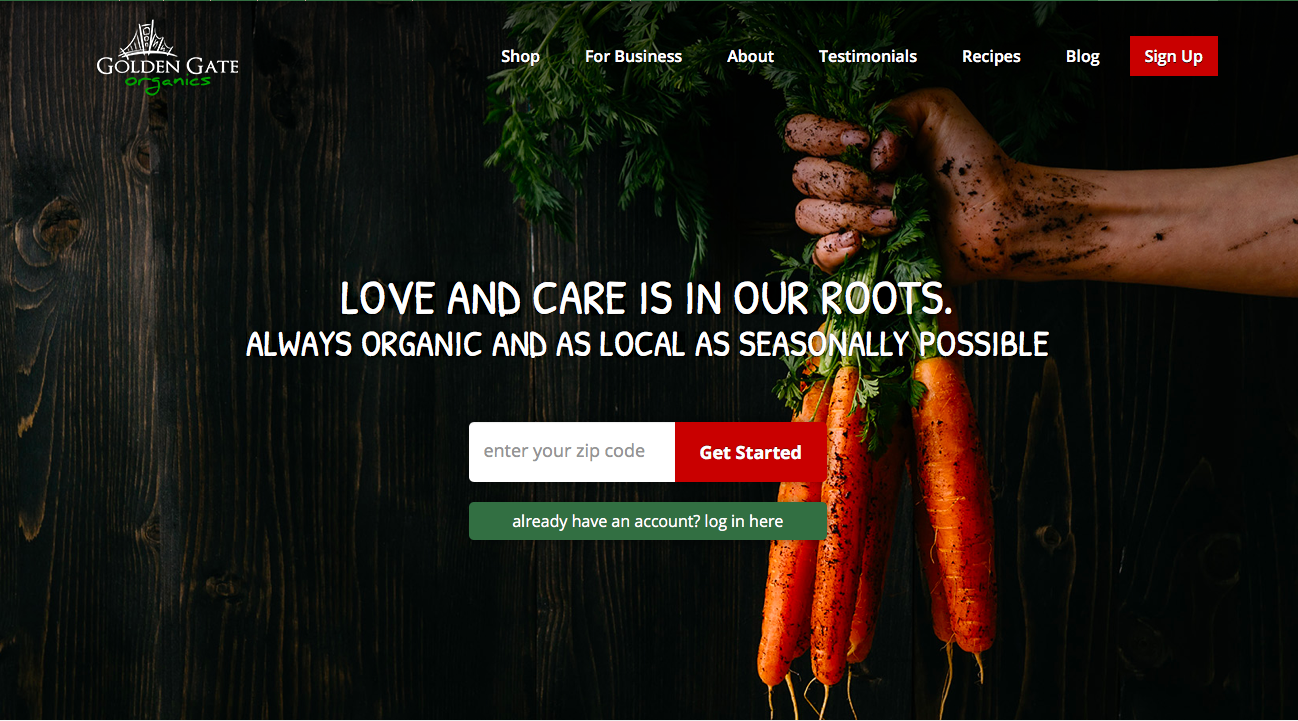 The homepage of Golden Gate Organics.
