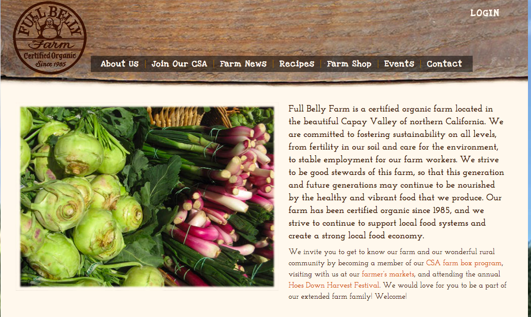 Full Belly Farm's homepage.