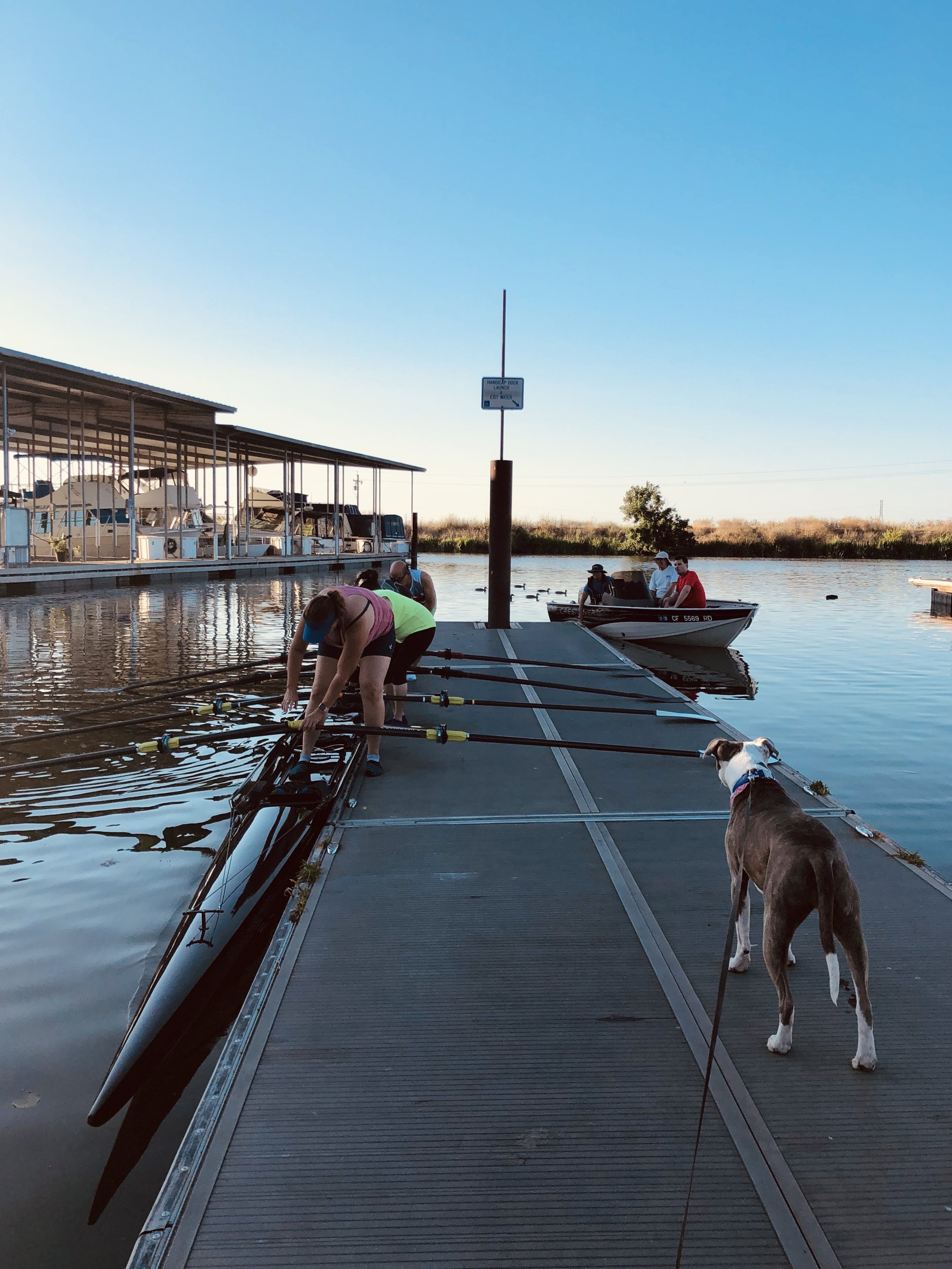 Dulli observing the athletes of Delta Sculling Center as they climb into their brand new quad one evening in July at RiverPoint Landing Marina.