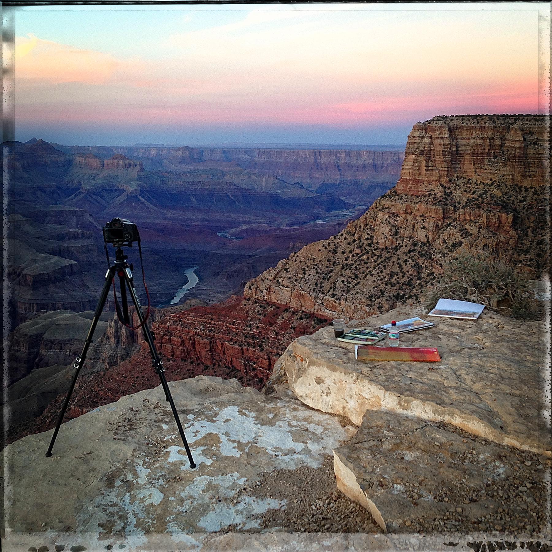 Shooting and painting at the Grand Canyon, South Rim, Arizona, October 2015