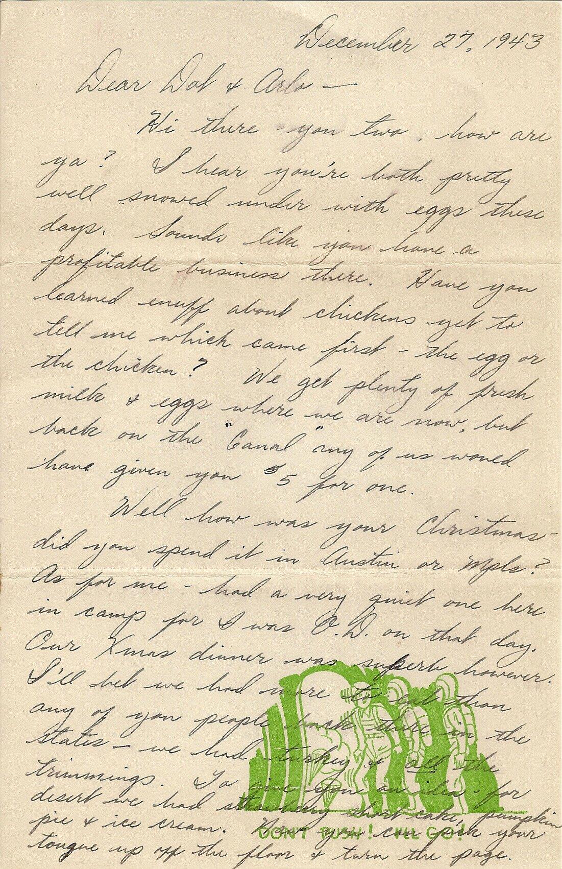 December 27, 1943 (To Dorothy Jordan