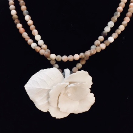 flower with leaf on double Sunstone bead necklace / lg.sterling lobster claw clasp