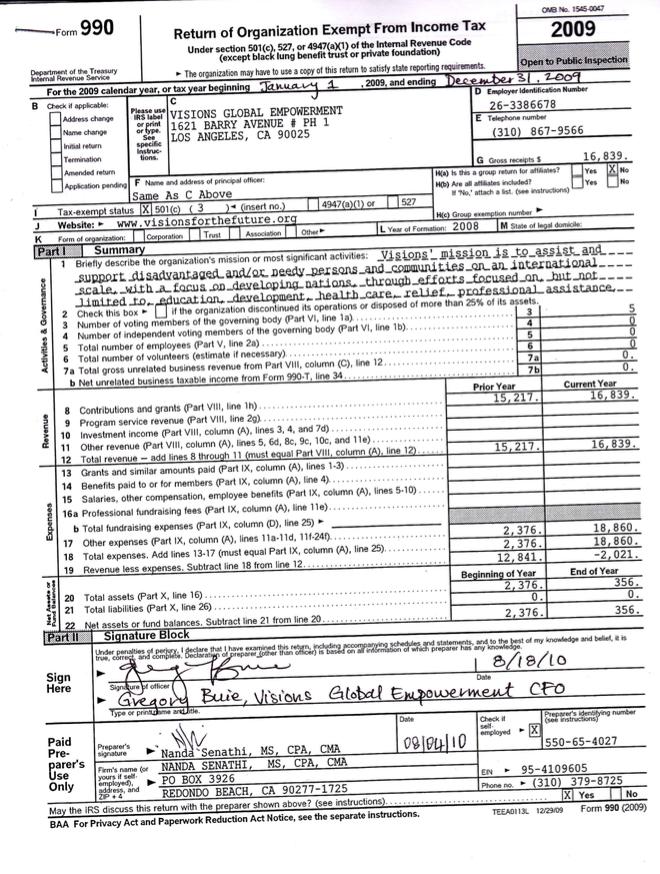 Visions 2009 Form 990 Tax Return