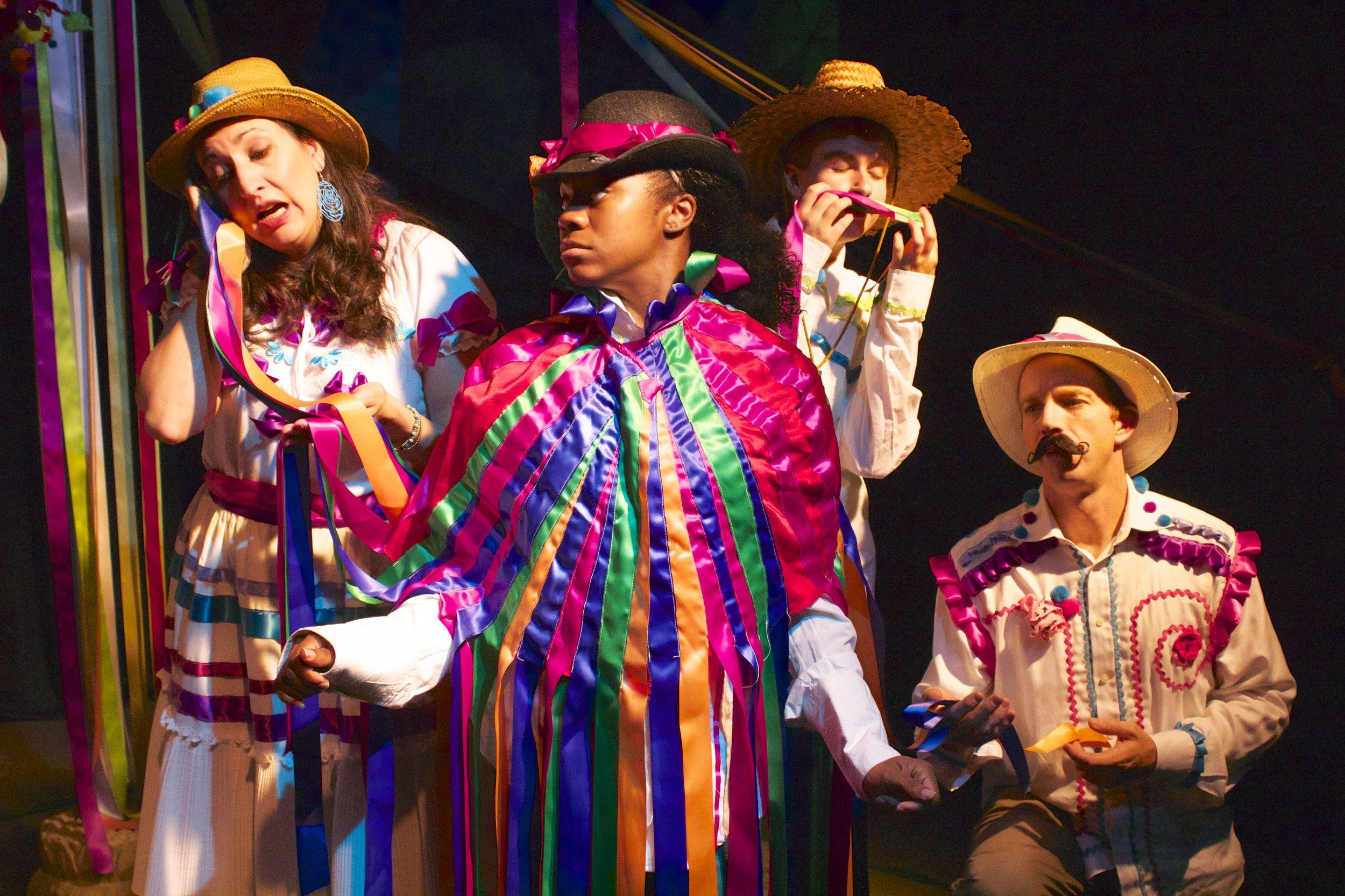 Christin Mason as Maria,  Faith Angelise as The King, Michelle Pantle as Miguel, and  Scott Glennon as Juan