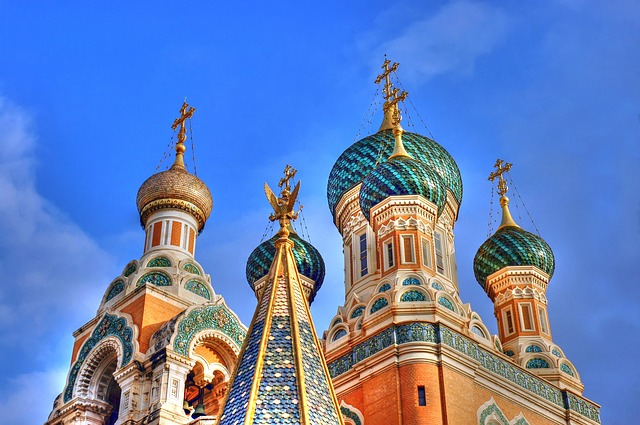 Russian building with onion domes