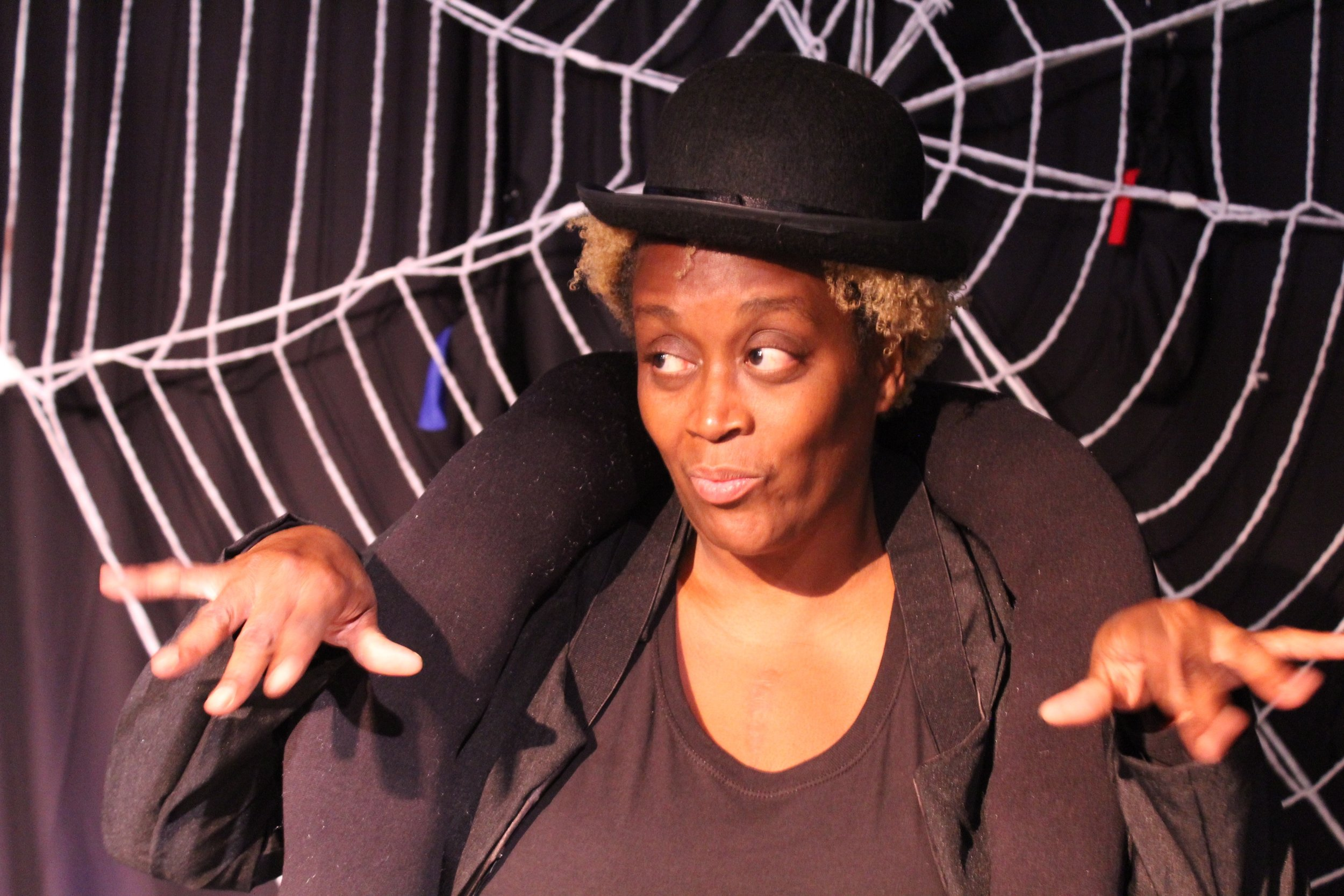Lisa Young as Anansi in rehearsal