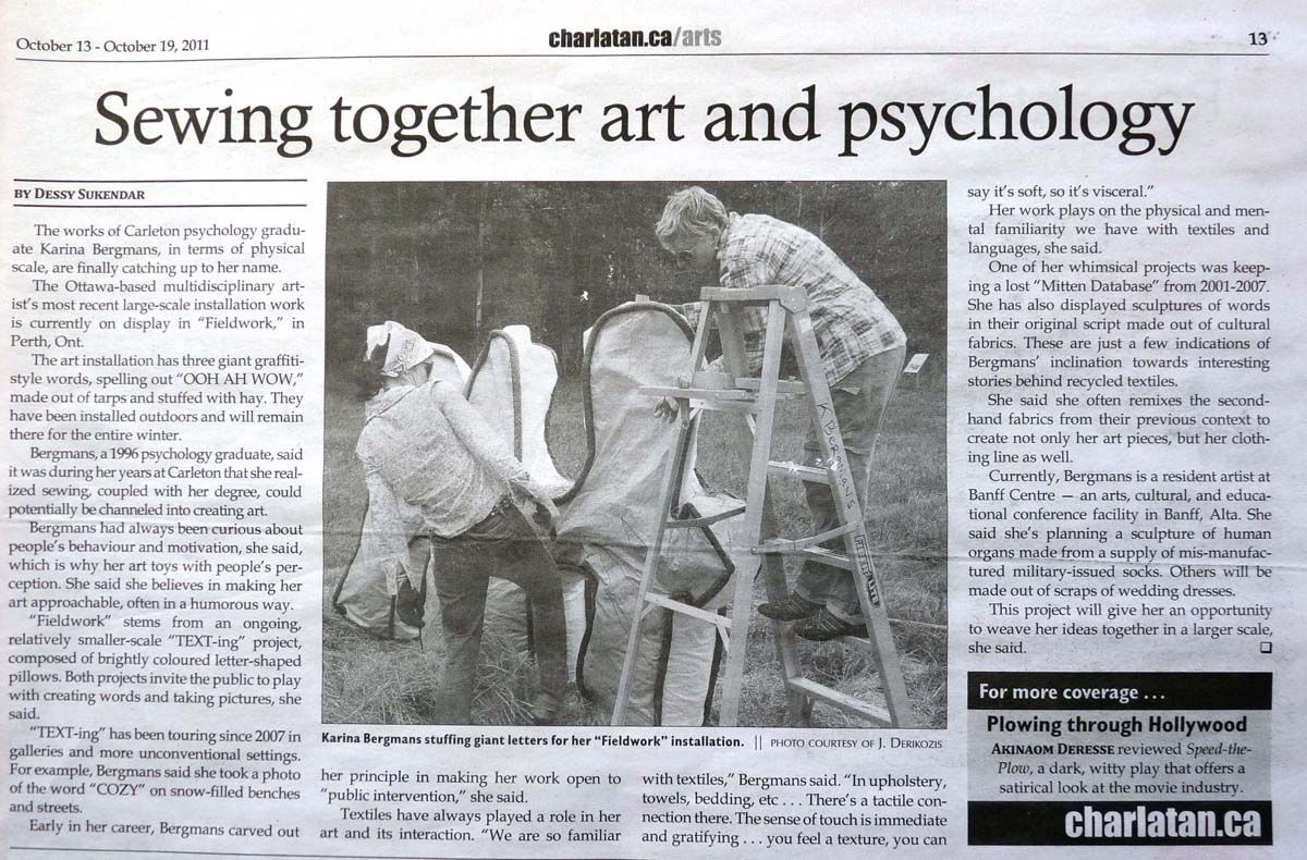 Sewing Together Art and Psychology, by Dessy Sukendar, Charlatan Newspaper, October 2011
