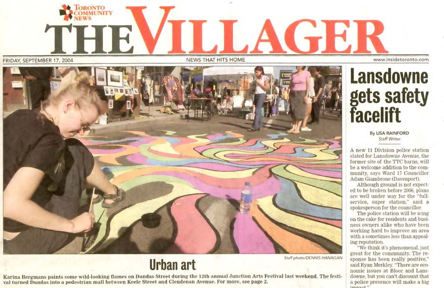 The Villager, Cover image from street painting at Junction arts Festival, September 17, 2004