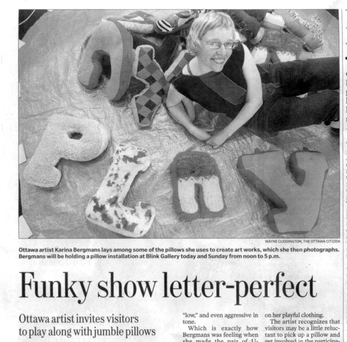 Funky show letter-perfect, by Dayanti Karunaratne, Ottawa Citizen, June 2009