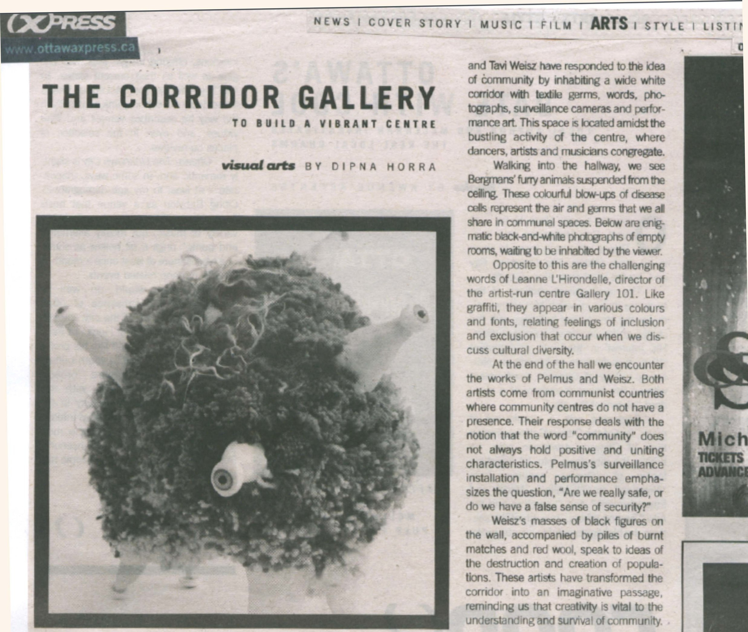 The Corridor Gallery: To Build a Vibrant Centre, by Dipna Horra, Ottawa Xpress, April 2008