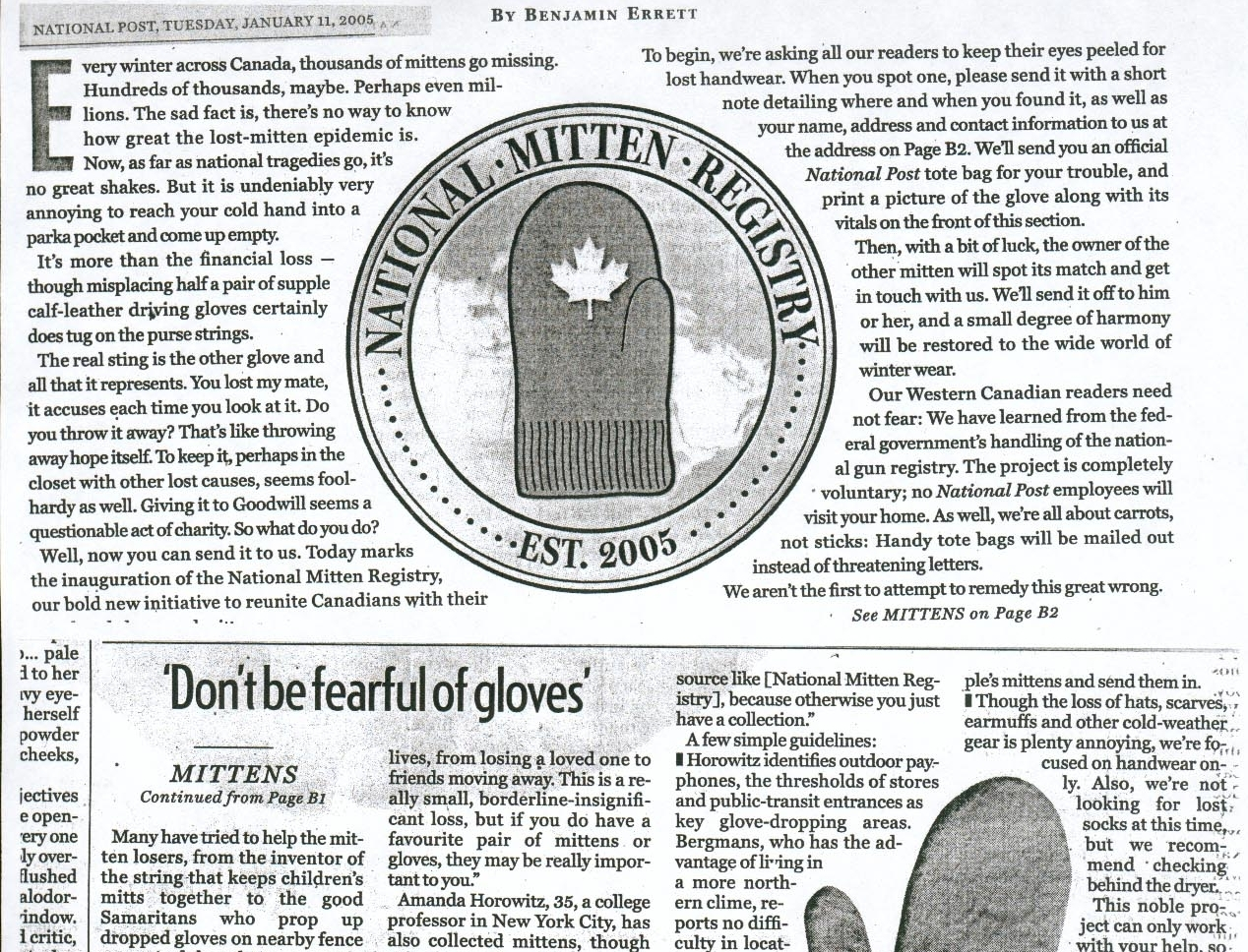National Mitten Registry, by Benjamin Errett, National Post, January 2005