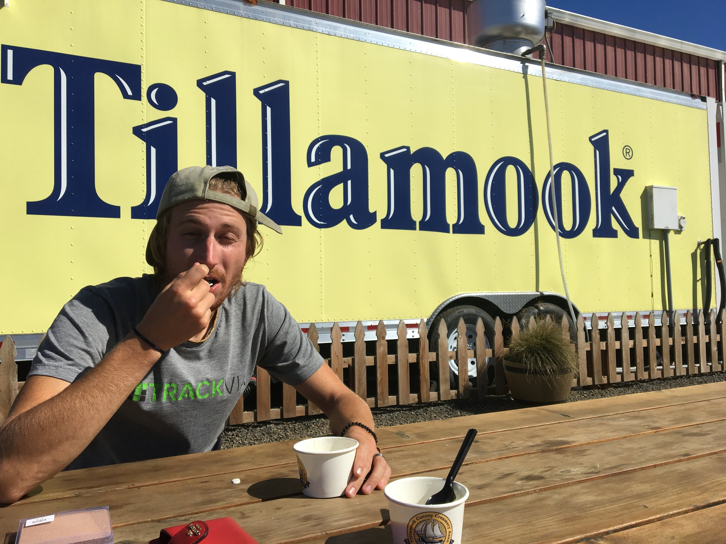 The most attractive picture of Derrick enjoying some Tillamook Ice Cream!