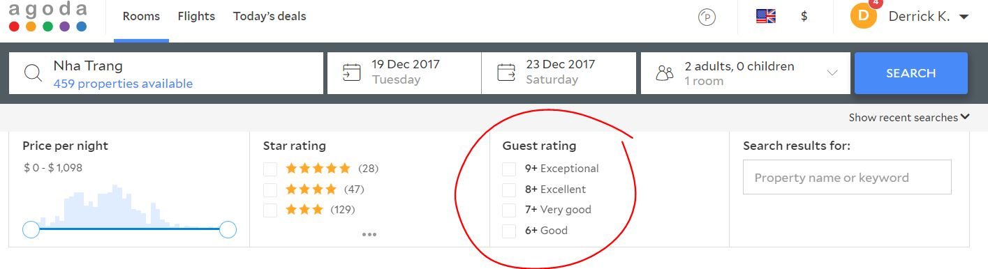 Guest Rating Filter
