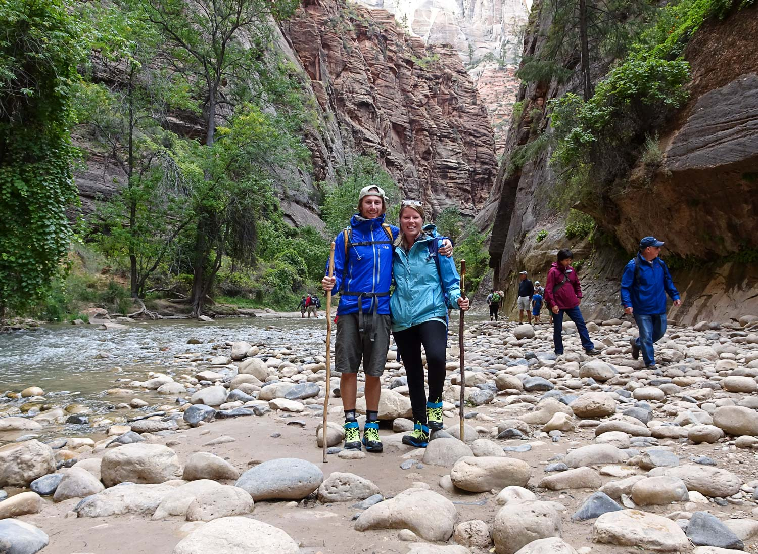 Our stylish water shoes and walking sticks