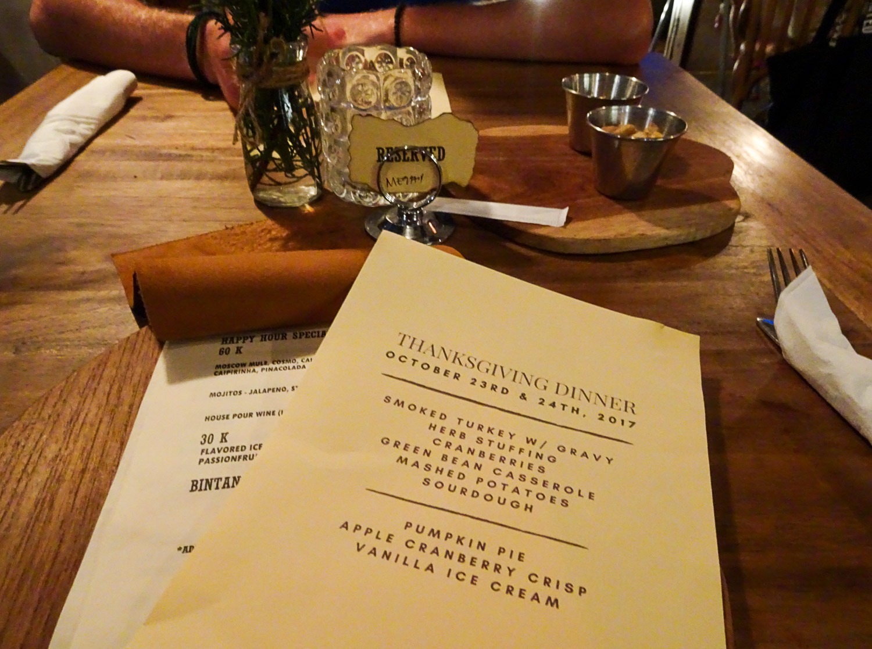 Thanksgiving dinner menu at Goodwood
