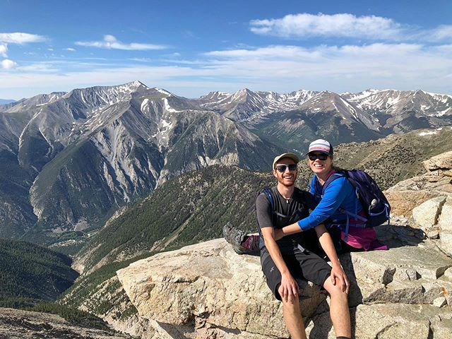 Lost some lbs and gained some elevation with John and @jepuffer this weekend! Because we're firm believers that if you're going to workout, it might as well be with views like these 😍😎 . . . . #hiking #coupleswhohike #hikingcouple #hikingadventures #hikecolorado #hikers #colorado14ers #14ersofcolorado #14er #mtprinceton #collegiaterange #collegiatepeaks #buenavista #buenavistaco #visitbuenavista #adventurecouple #highaltitude #gethighincolorado