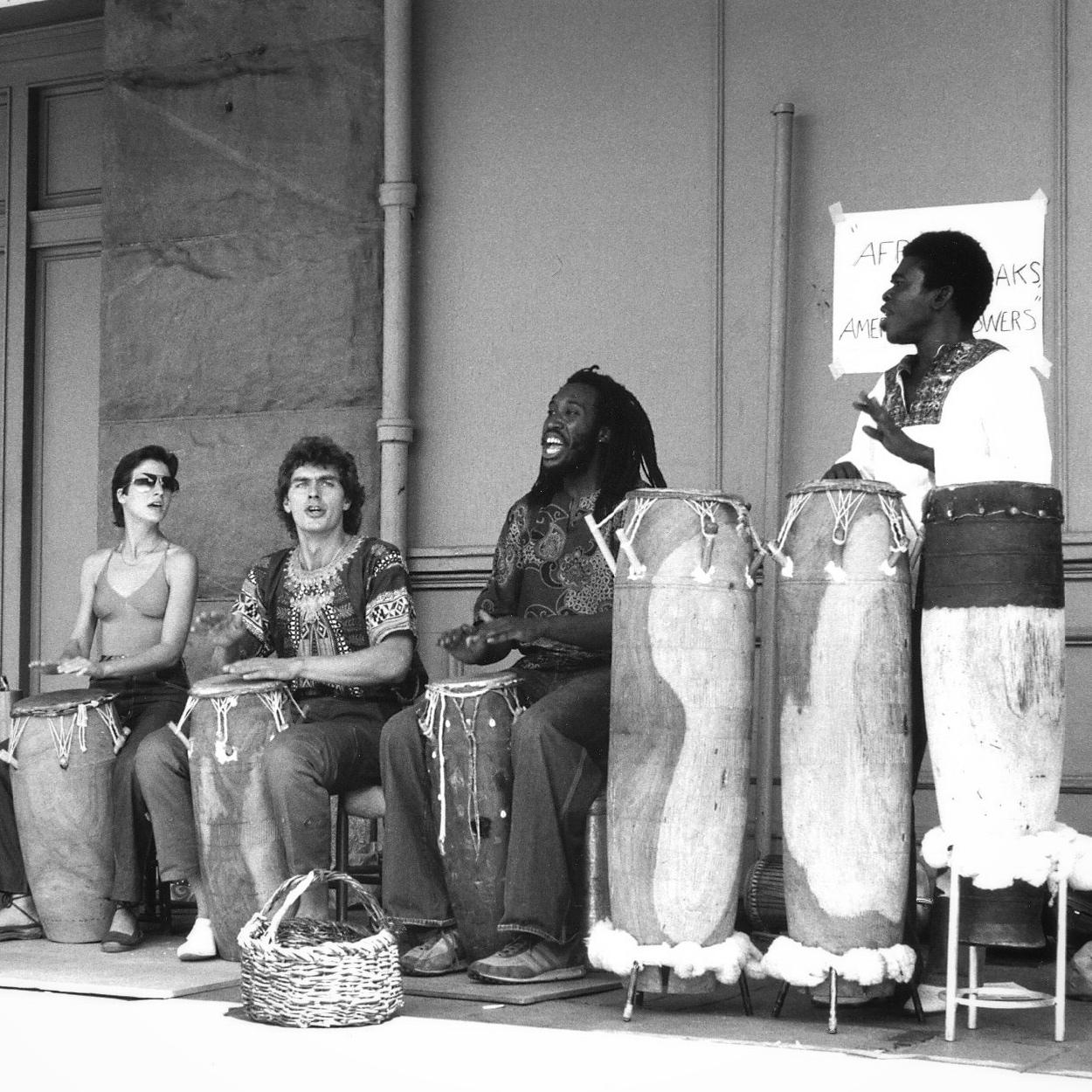 Valerie, Brian Davis, Caton Lyles, and master drummer Obo Addy