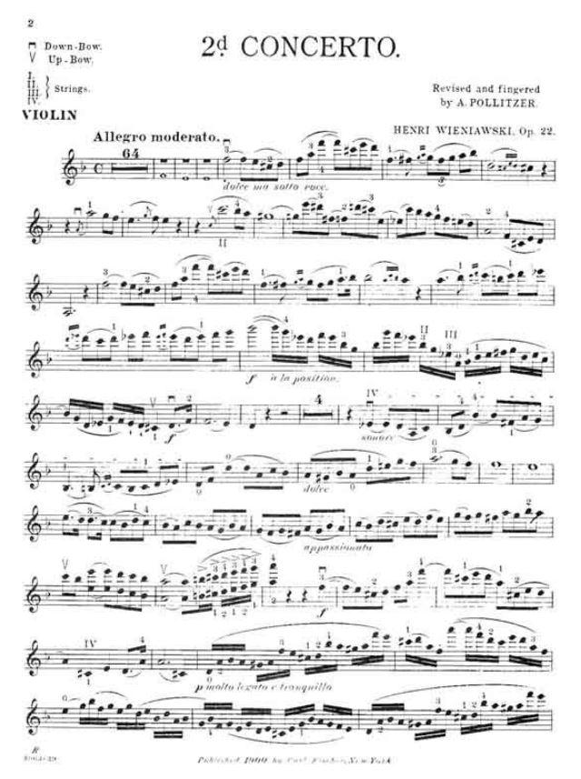International 22 Violin and Piano Wieniawski Henryk Concerto 2 in d minor Op by Ivan Galamian